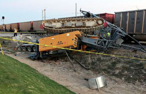 train crashed into a semi truck that was stuck on the tracks on    Train Crash Truck