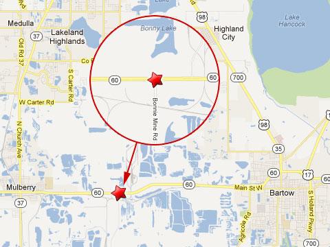 Bartow Florida Map.Tanker Truck Collides With Csx Train In Fiery Crash Near Bartow