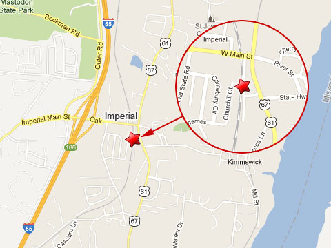 Map showing location of BNSF train derailment in Imperial, MO on Jamuary 11, 2013 near West Main St and U.S. Highway 67/61 very close to residential homes on Churchill Court.