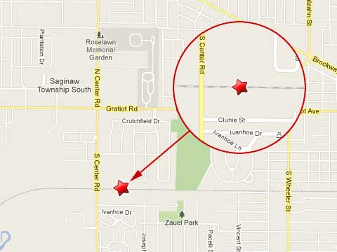 Map showing location of train derailment in Saginaw Township, MI on February 9, 2013 just east of South Center Rd and north of Clunie St..