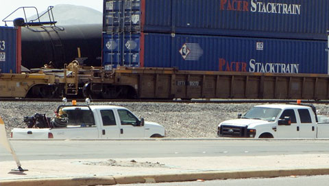 Photo shows Union Pacific train derailment in South El Paso Texas on March 23, 2013.