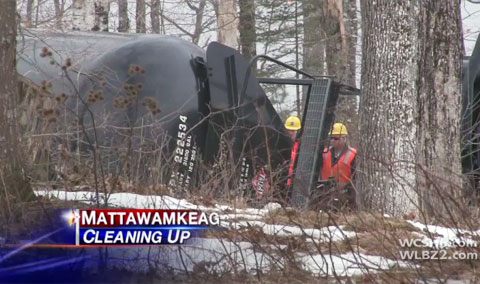 Thirteen tanker cars of a 96 car Pan Am Railways train derailed in Mattawamkeag, ME while traveling to New Brunswick from North Dakota. The tankers were carrying 30,000 gallons of crude oil each.