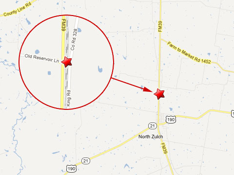 Map showing location of train derailment after colliding with a truck hauling live chickens at a rail crossing at Highway 39 and Old Reservoir Lane in North Zulch, TX on March 18, 2013.