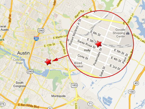 Map showing location of freight train derailment just east of the rail  crossing at 5th and Pedernales Streets in Austin, TX on April 3, 2013.