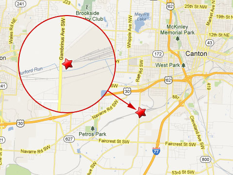 Map showing location of a Wheeling and Lake Erie Railroad train derailment at the company's Gambrinus rail yard in Canton, OH on April 25, 2013.