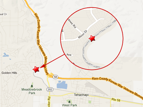 Map showing location of Union Pacific train derailment near Meadows Rd and Moon Drive in Golden Hills, CA just west of Tehachapi on April 7, 2013.