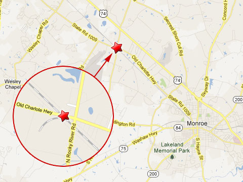 Map showing location of CSX train crash with tractor trailer in Monroe, NC at the rail crossing on Old Charlotte Hwy and N Rocky River Road on April 30, 2013.