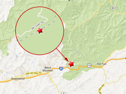 Map showing location where a Norfolk Southern railroad worker was killed in a mudslide while working on some track on Old Fort Mountain in North Carolina on May 6, 2013. The accident happened a couple of miles outside Black Mountain, NC near Mill Creek Road.