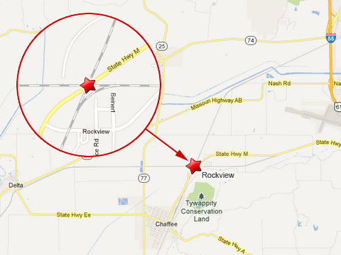 Map shows location of a train crash between a Union Pacific train and a BNSF train at a railway intersection in Rockview, MO on May 25, 2013. The crash caused the collapse of the overpass of State Highway M.