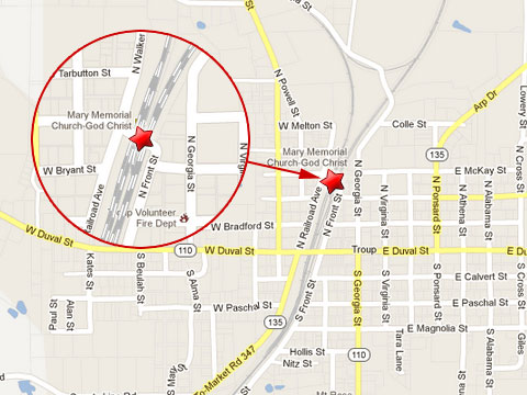 Map shows location of fatal crash of a passenger car with a Union Pacific train at the Front St. rail crossing in Troup, TX on May 10, 2013.
