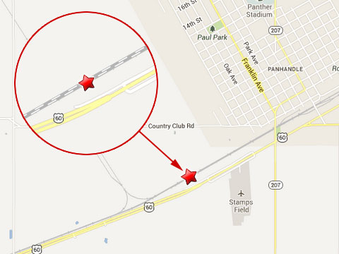 Map shows location of BNSF train derailment in Panhandle, TX just west of town alongside a stretch of U.S. Highway 60 on June 21, 2013.