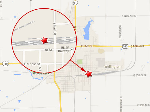 Map shows location where a BNSF railroad worker was critically injured after getting pinned under the wheels of a rail car just west of Fair St in Wellington, KS on July 9, 2013.