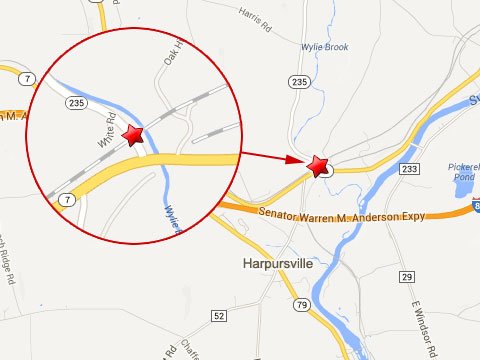 Map shows location where a Canadian Pacific railroad worker was killed working on a rail bridge near Route 235 and Route 7 in Harpursville, NY on August 26, 2013.