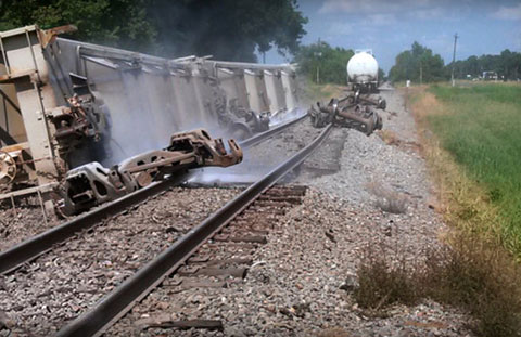 A Union Pacific train carrying hazardous materials derailed in Lawtelle, LA on August 4, 2013 causing the evacuation of hundreds of people. Photo credit: US News & World Report