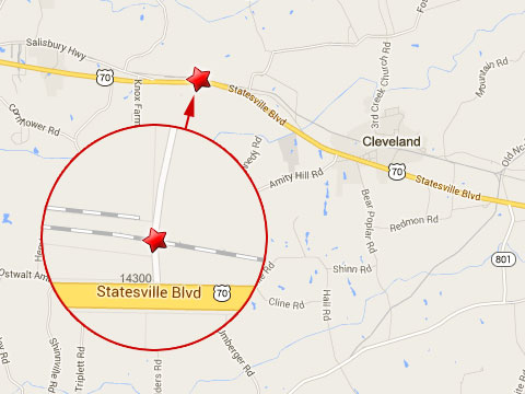 Map shows location of a Norfolk Southern train crash with a dump truck at a rail crossing near the 14300 block of Statesville, Bl in Cleveland, NC on September 23, 2013.