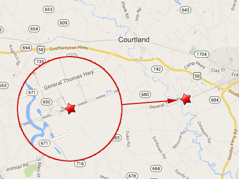 Map shows location of a fiery CSX train derailment near the 27000 block of Shady Brook Trail in Courtland, VA on September 19, 2013.