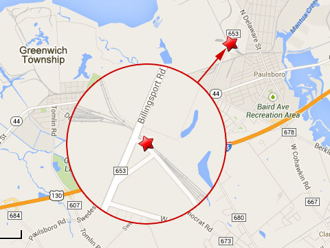 Map shows location of train derailment near Billingsport Rd in Greenwich Township, NJ on September 16, 2013.