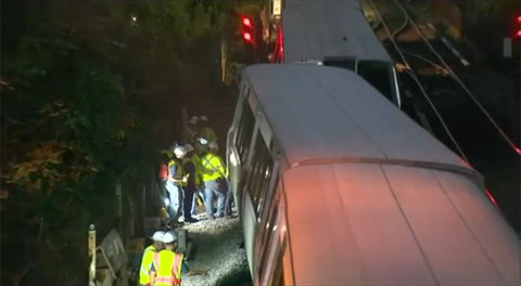A Metro Red Line train derailed in Washington, DC on August 30, 2013 while it was being moved to a rail yard. The train was not carrying any passengers at the time.