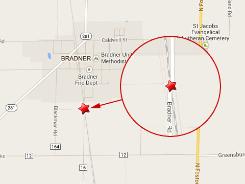 Map shows location where 3 railroad workers were injured at the Bradner Rd rail crossing located about 1/10th of a mile south of Bradner, OH on October 28, 2013.