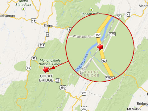 Map shows location of fatal logging truck with train at the U.S. Highway 250 crossing in Cheat Bridge, WV on October 11, 2013.