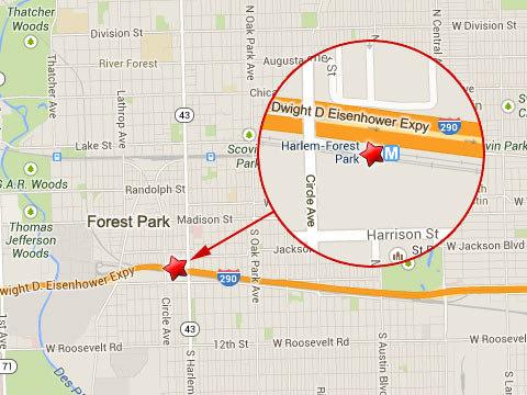 Map shows location of CTA commuter train accident at the Harlem Station in Forest Park, IL on September 30, 2013.