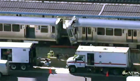 A CTA commuter train mysteriously got loose and ran into another train injuring many passengers in Forest Park, IL on September 30, 2013.