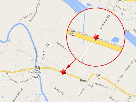 Map shows location of fatal semi truck accident with a CSX train at the Crooked Rd rail crossing near U.S. Highway 60 in Henderson County, KY on October 9, 2013.