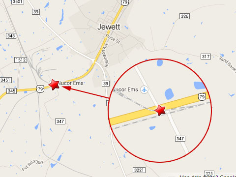 Map shows location of a Union Pacific train derailment in Jewett, TX at the U.S. Highway 79 rail crossing near Farm to Market 347 on October 16, 2013.