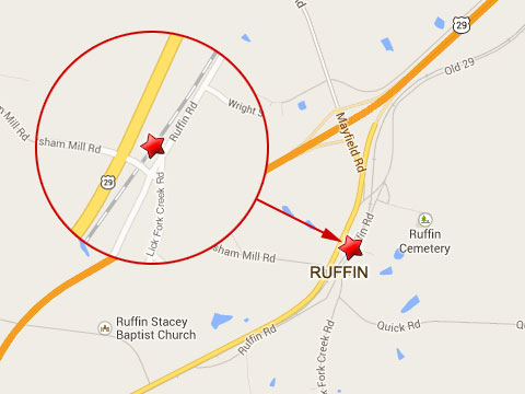 Map shows location of Norfolk Southern train derailment at Lick Fork Creek Rd and Ruffin Rd in Ruffin, NC on October 1, 2013.