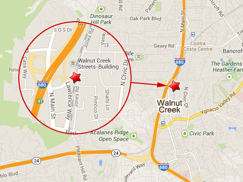 Map shows location of fatal BART train accident that killed two railroad workers near Jones Rd and Chandon Ct in Walnut Creek, CA on October 19, 2013.