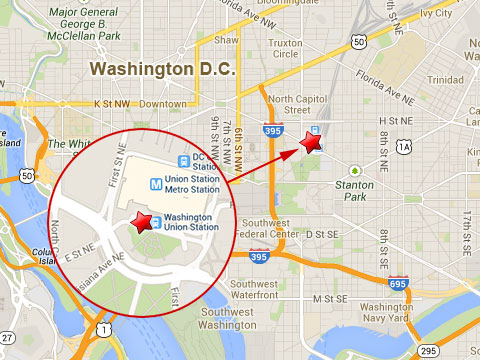 Map shows location of the Metro Rail Union Station in Washington DC where a worker was killed nearby in an explosion while welding new rail sections on October 6, 2013.